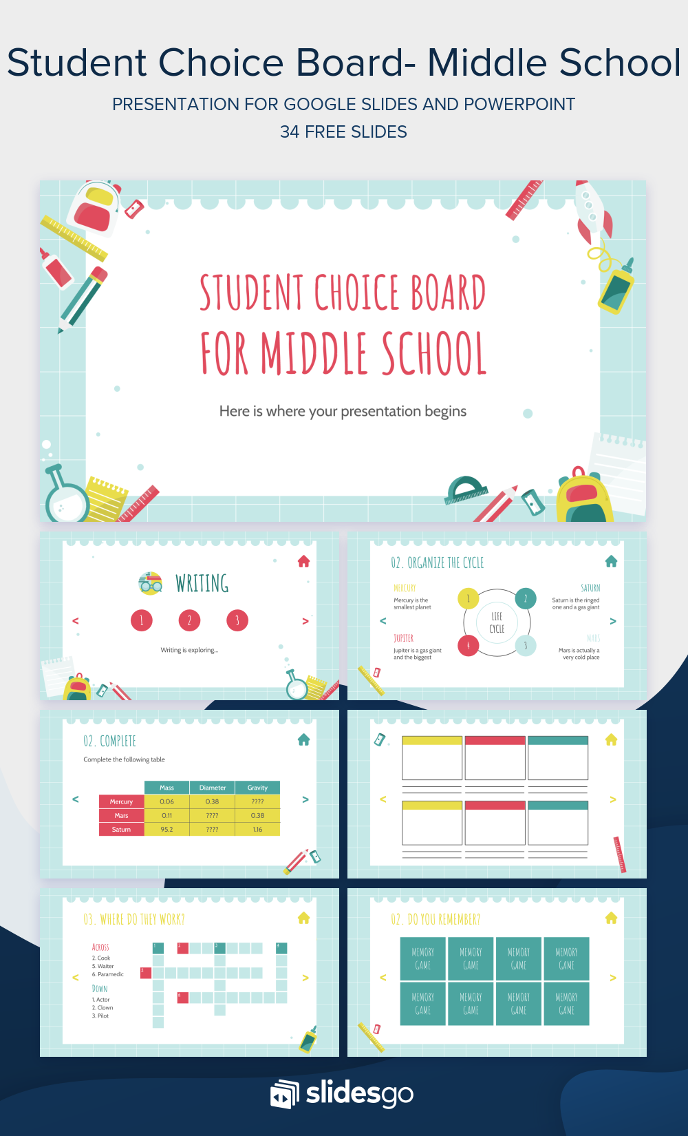 Make An Interactive Slide Deck And Use It With Your Middle School Students To Learn And Have Fun Student Choice Boards Free Powerpoint Presentations Powerpoint