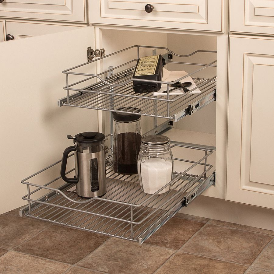 Knape Vogt 17 56 In W X 19 25 In H 2 Tier Pull Out Metal Cabinet Organizer Lowes Com Cabinet Organization Kitchen Cabinet Organization Cabinets Organization
