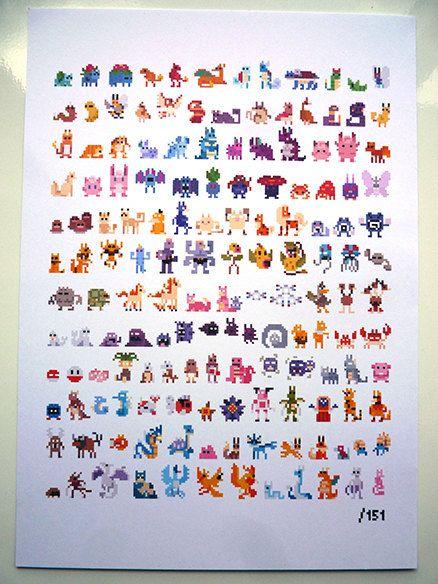 Pixelated Pokemon - First Generation - Limited Print. £15.99, via Etsy.