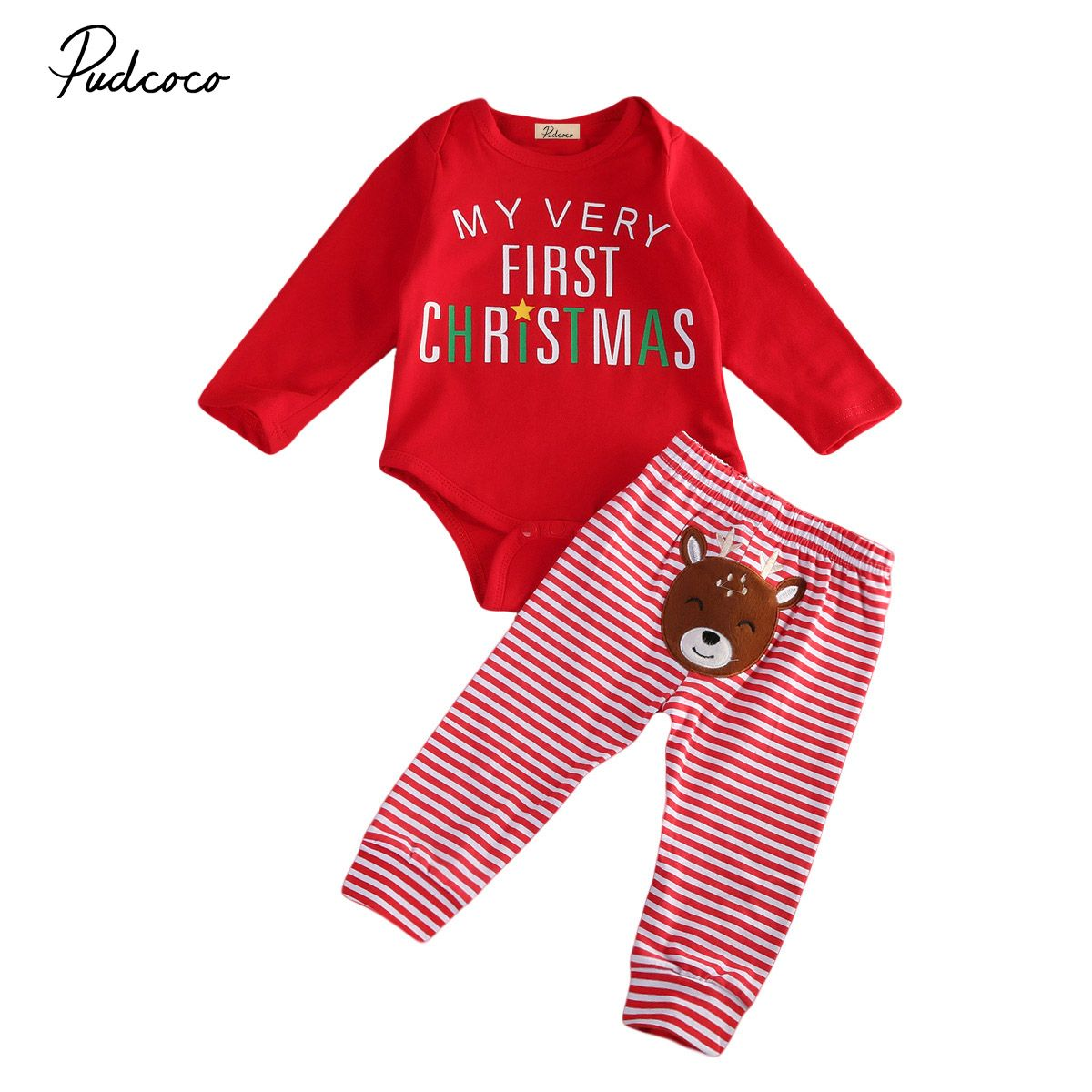 0a99446b2 PUDCOCO Brand Clothes Cotton Blend Christmas Newborn Baby Clothes Boys Girls  Clothes Romper Striped Pants Deer