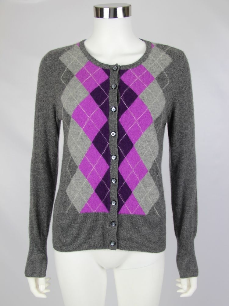 Apt 9 100% Cashmere Womens Size Medium Gray Purple Argyle Cardigan Sweater #Apt9 #Cardigan #Work