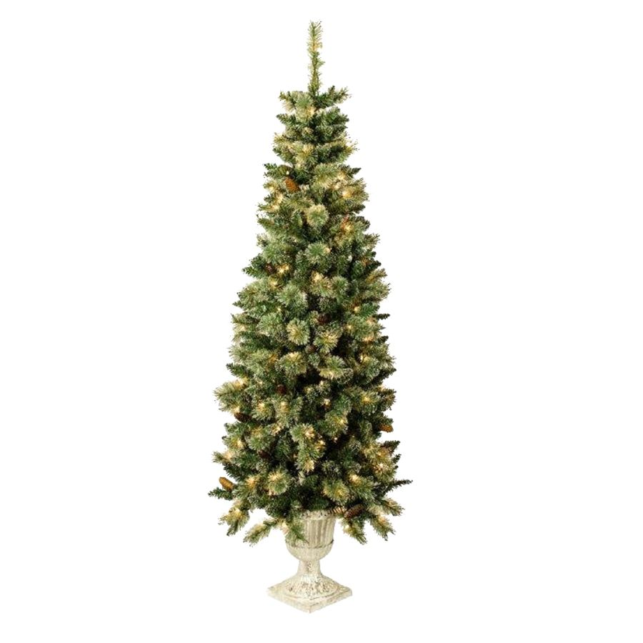 Shop Holiday Living 5 5 Ft Indoor Outdoor Pre Lit Spruce Artificial Christmas Tree With 1 Incandescent Lights Artificial Christmas Tree Lowes Home Improvements