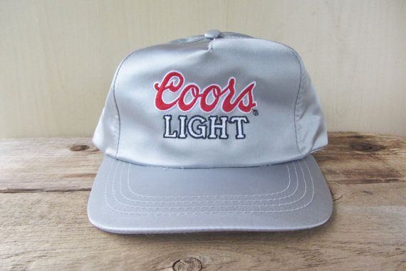 0b355e22b2a Vintage COORS LIGHT Beer Shiny Silver Nylon Snapback Hat Embroidered ...