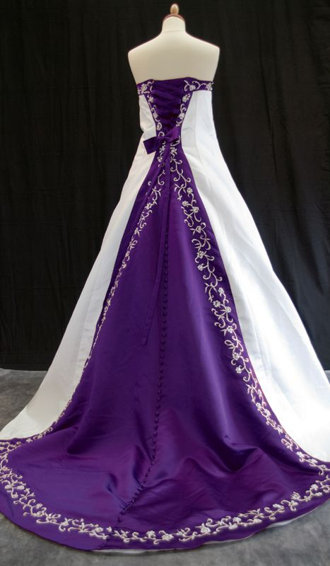 Ivory or white and colour satin wedding dress juliet purple ivory or white and colour satin wedding dress juliet junglespirit