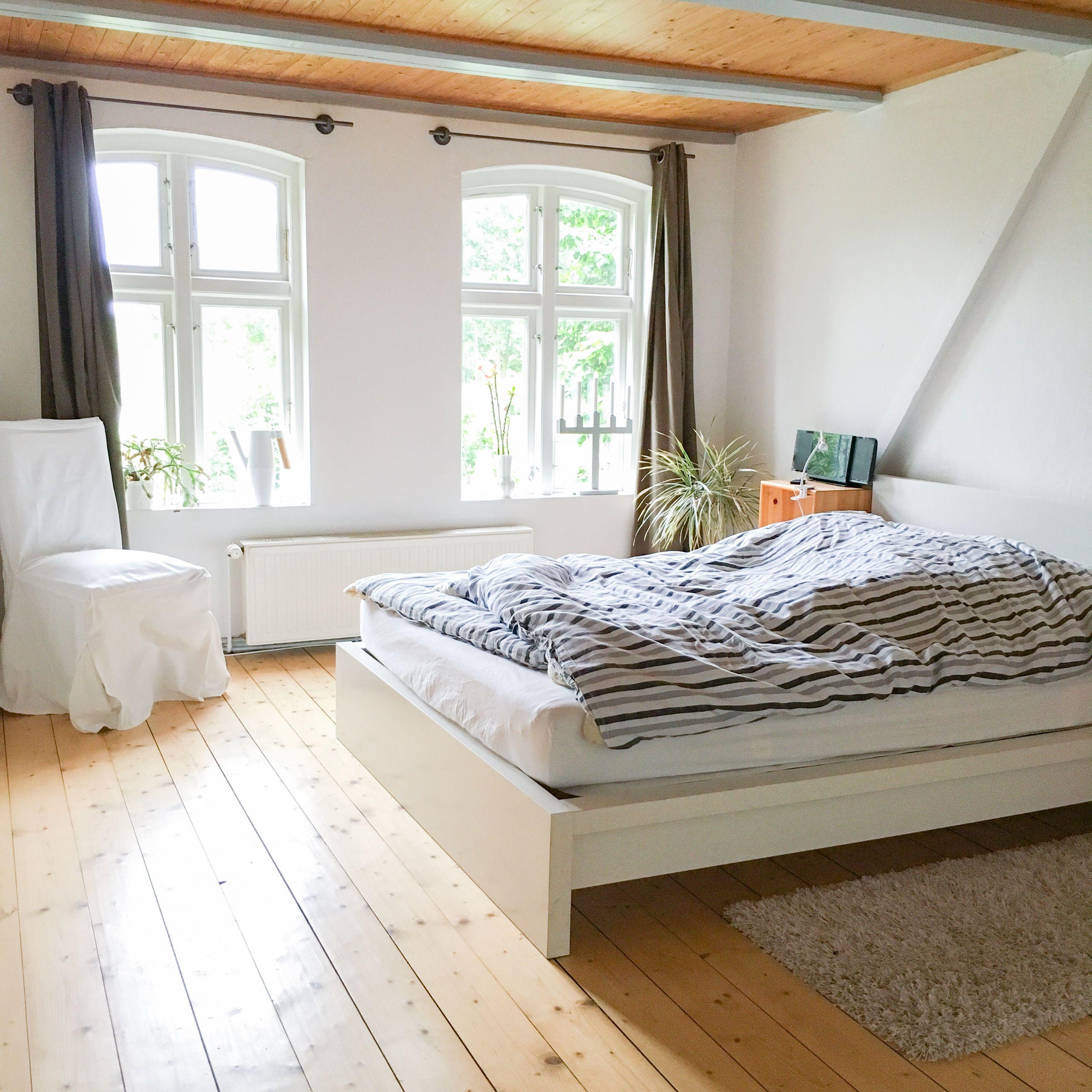 Landhaus, Schlafzimmer, Balken, Holzbalken, Bett, malm, Landhaus