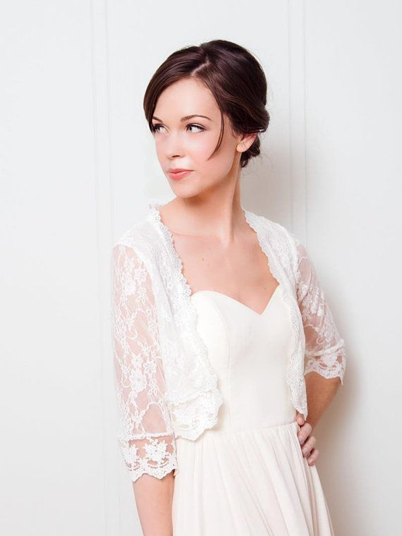 Lace Bridal Jacket | Ivory Lace wedding shawl | Bridal Lace Topper ...