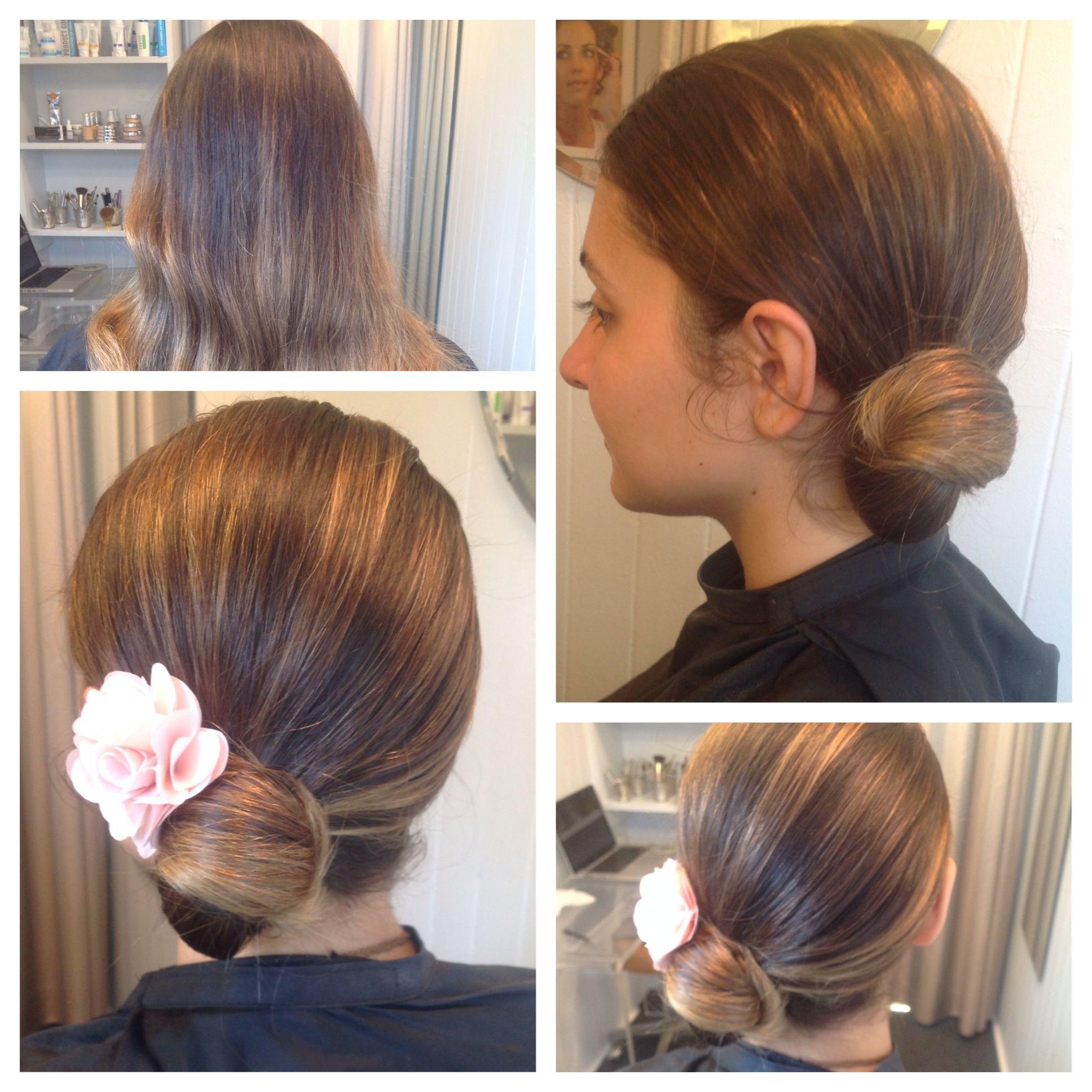 side rose petal bun. hair by liz fanlo makeup and hair
