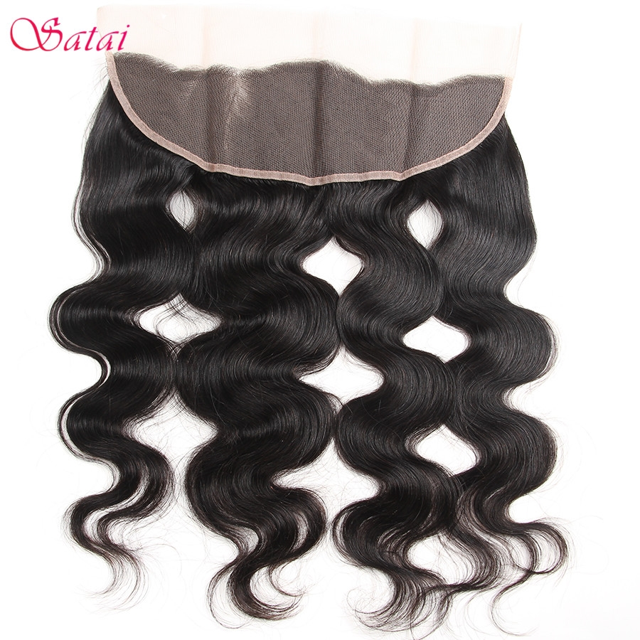 51.31$  Watch here - http://aicyd.worlditems.win/all/product.php?id=32797041302 - Satai Ear To Ear Lace Frontal 13*4 Lace Closure Body Wave 100% Human Hair 10-18 inch Natural Color 1 Bundle Only