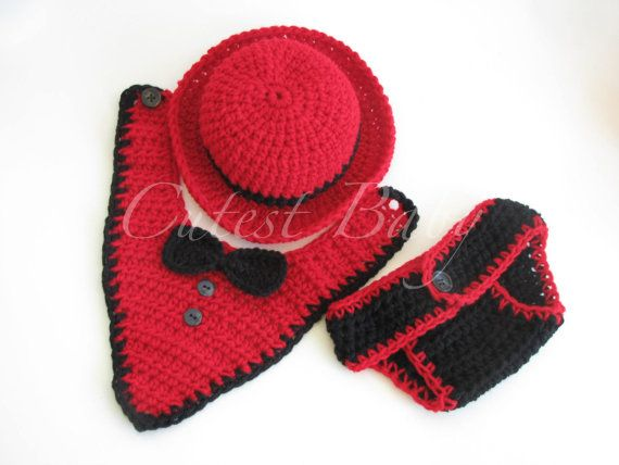 Gentleman Baby Crochet Bowl Hat Tuxedo Bib & Diper by CUTESTBABIES