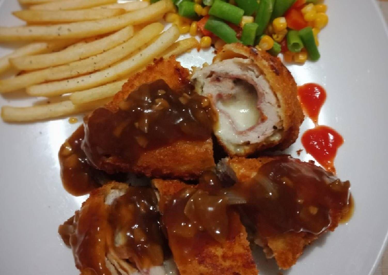 Resep Chicken Cordon Bleu With Brown Sauce Oleh Doubledee Mom Resep Chicken Cordon Bleu Resep Dada Ayam