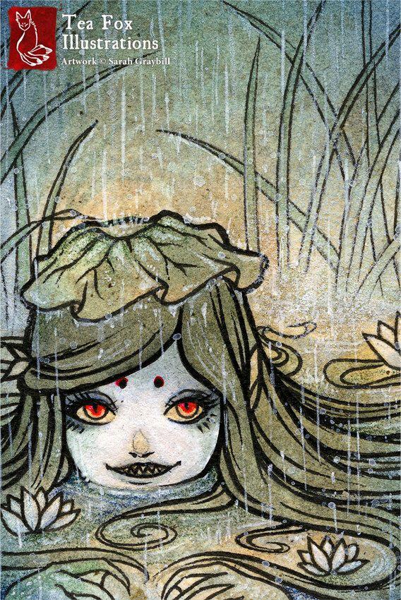 kappa girl, yokai, lake spirit, japanese art, asian style 4x6 fine ...