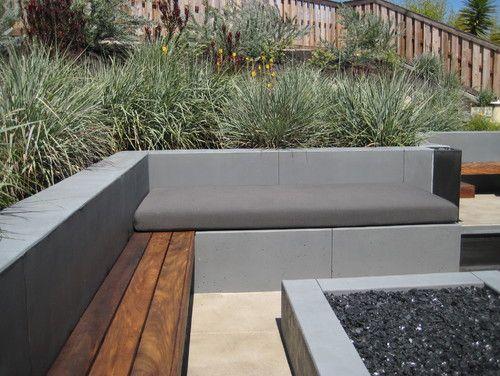 Concrete And Wood Seat Wall Plantas Jardim Plantas Jardim