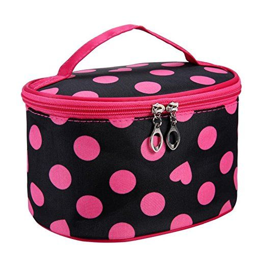 8538286aa4c2 Amazon.com   DZT1968® Handle Round Dot Large Cosmetic Bag Travel Makeup  Organizer Case Holder With Mirror (Green)   Beauty