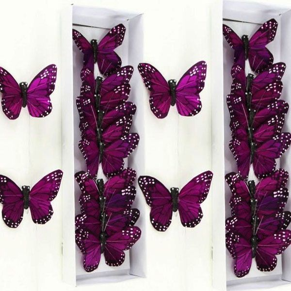 "Butterfly 24 New-3"" Purple Artificial Feather Gift Wedding Craft Decorating USA #Shi"