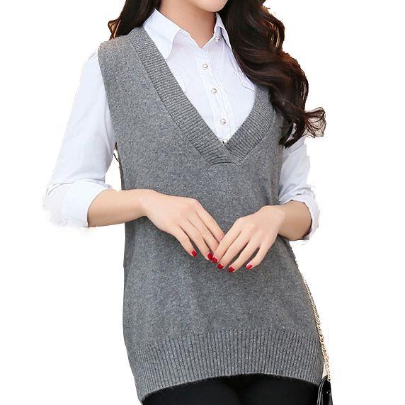 Aliexpress.com : Buy Winter Knitted Vest Women Cashmere Deep V ...