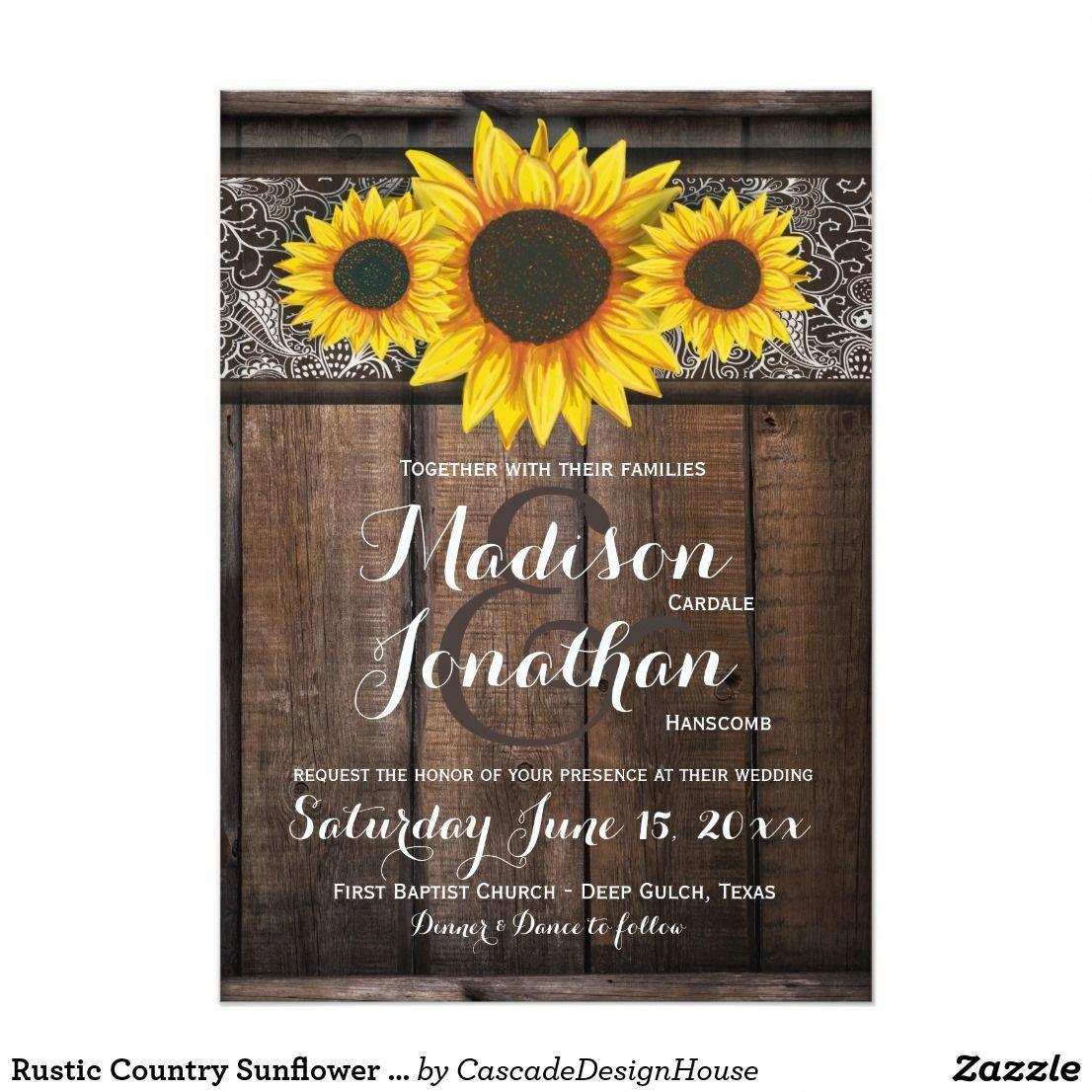 Rustic Country Sunflower Wood Wedding Invitations sun