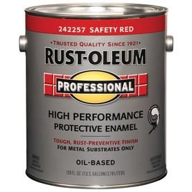 Rust Oleum Professional Safety Red Gloss Oil Based Enamel Interior Exterior Paint Actual Net Contents 128 Fl Oz 24225 In 2020 Exterior Paint How To Clean Metal Steel Paint