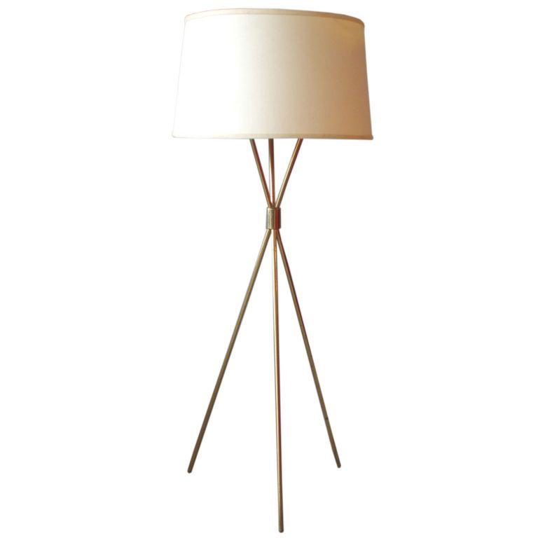 Brass Tripod Floor Lamp By Robsjohn Gibbings For Hansen Co Plaid