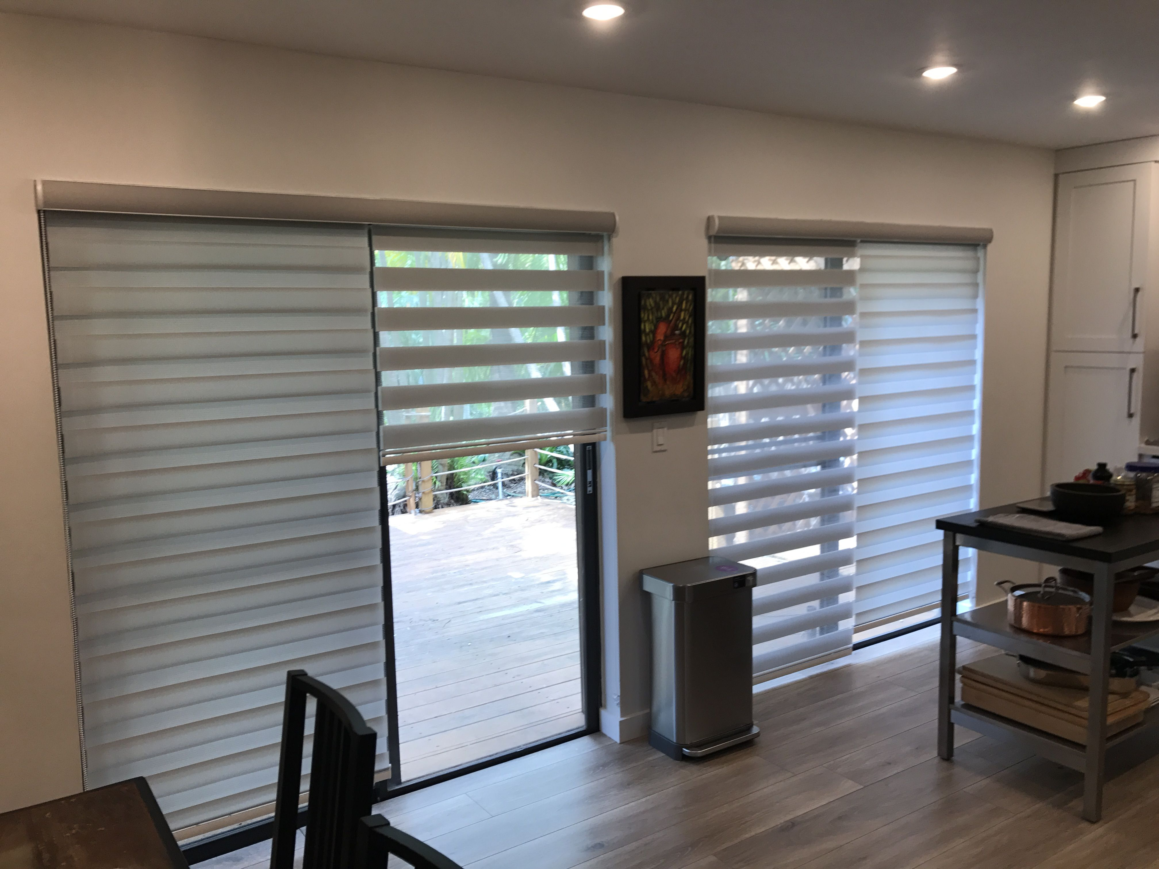 Sliding Door Light Grey 2in1 Zebra Illusion Privacy Shades