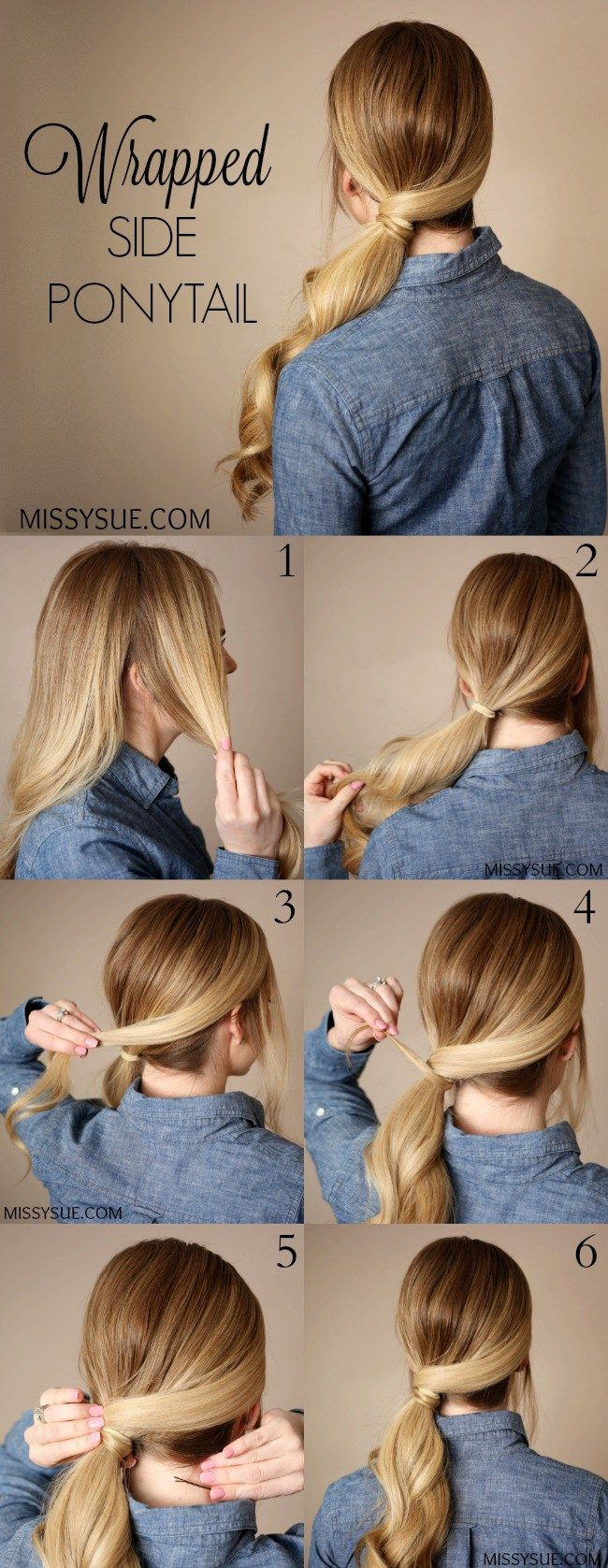 Wrapped Side Ponytail Missy Sue Side Ponytail Hairstyles Ponytail Hairstyles Tutorial Cute Ponytail Hairstyles