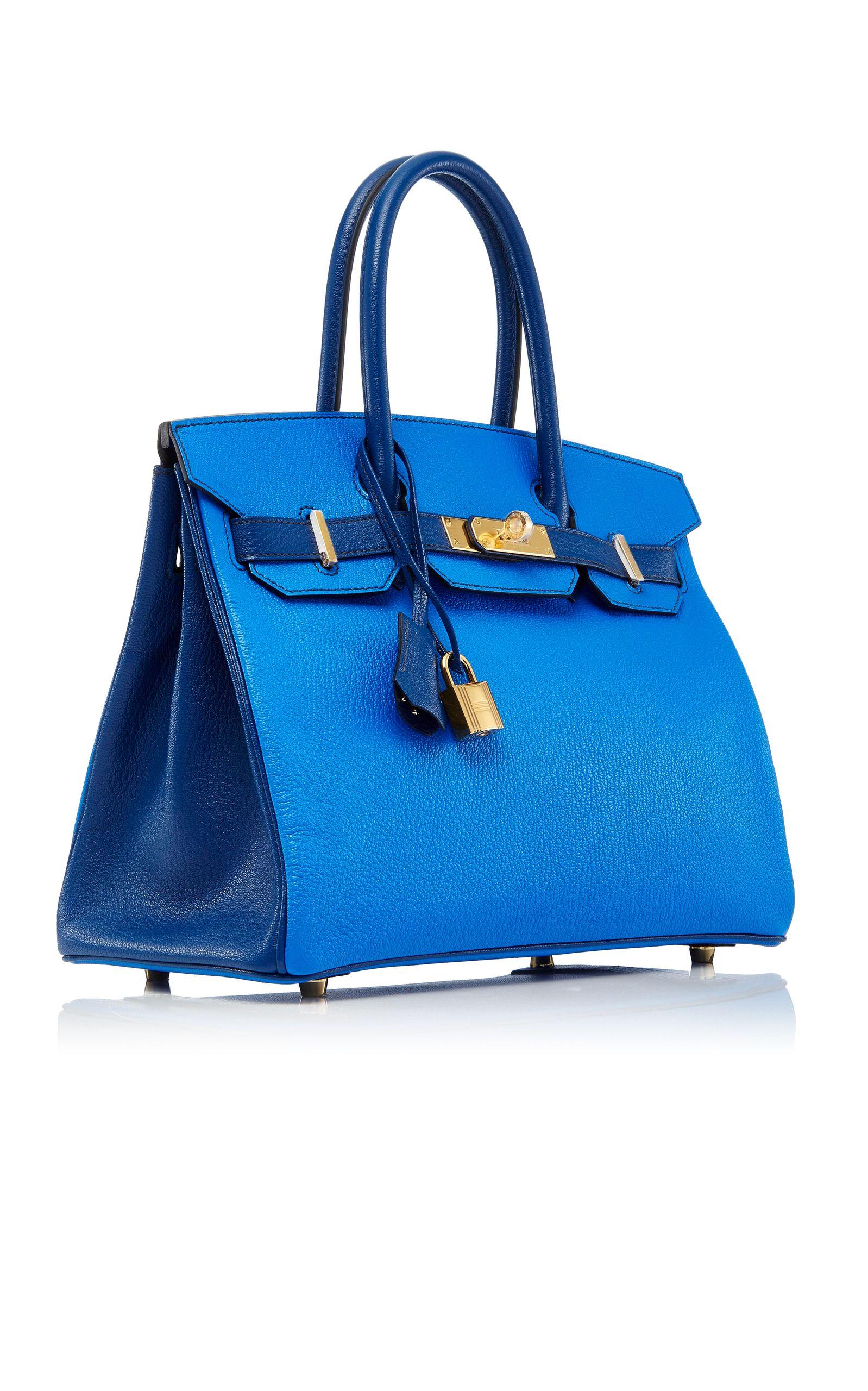 292bbe0d3ce Hermès 30Cm Blue Hydra   Blue Sapphir Chevre Leather Special Order  Horseshoe Birkin