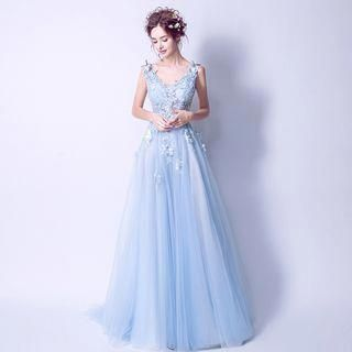 Buy Angel Bridal V-Neck Applique Evening Gown at YesStyle.com! Quality  products at remarkable prices. FREE Worldwide Shipping available! ad3f56609668
