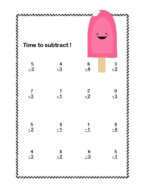 math worksheet : first grade math addition  subtraction within 20 worksheets ice  : First Grade Math Subtraction Worksheets