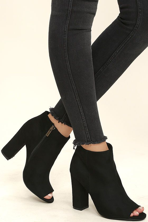 3e03fc51f2142 Enhance every outfit from here on out with the Means So Much Black Suede  Peep-Toe Booties! A classic peep-toe upper is met by an ankle-high shaft  with 5