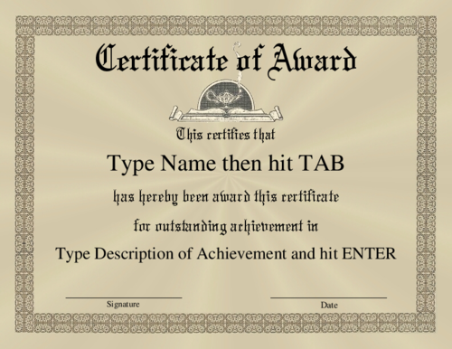 Award Certificate Template | Certificate Of Award With A Formal Border On A  Brown   Tan  Formal Certificate Template