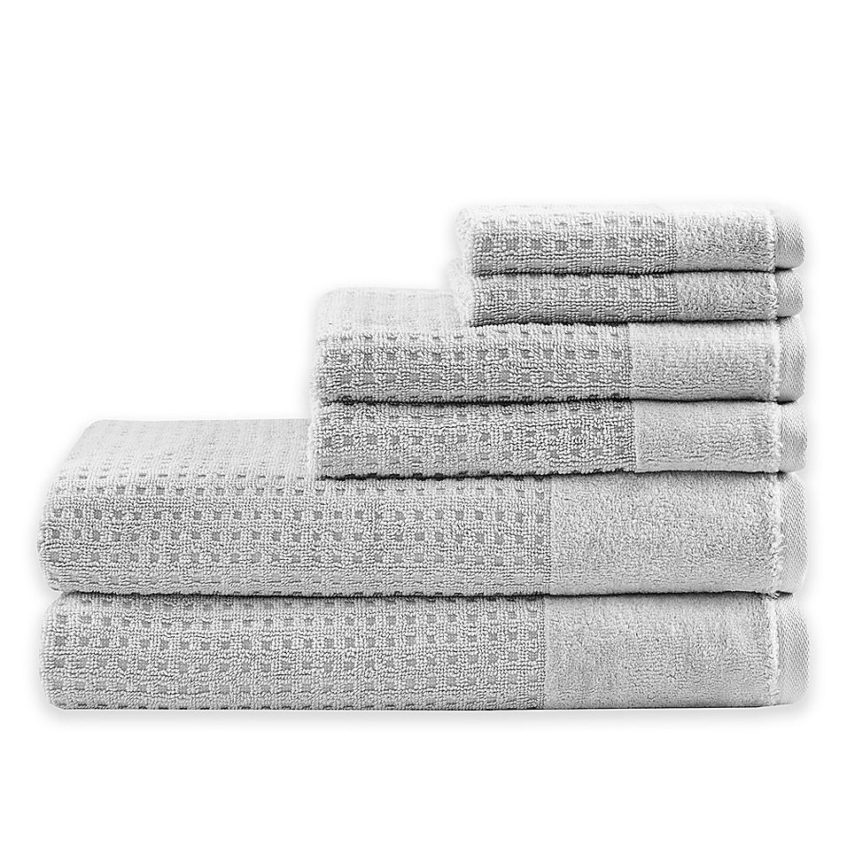 Madison Park 6 Piece Waffle Cotton Bath Towel Set In Grey Towel
