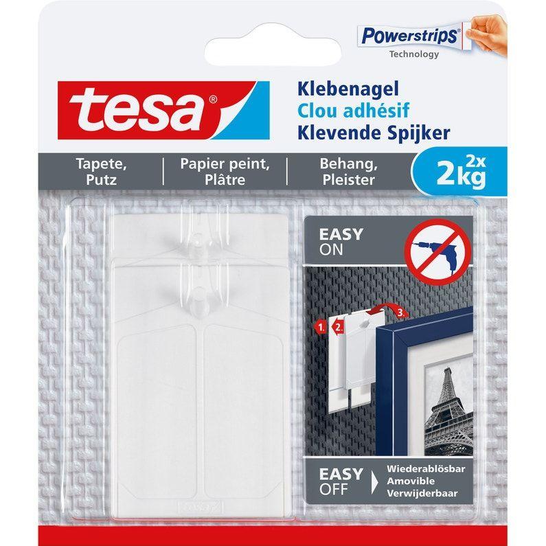 Lot De 2 Clous Adhesifs Smart Mounting System Tesa Blanc 2 Kg Leroy Merlin Papier Peint Accroche Tableau Toile Plastique