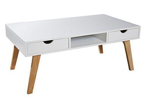 Beistelltisch mit schubladen  Couchtisch / Lowboard / TV-Tisch weiß natur mit 2 Schubladen ...