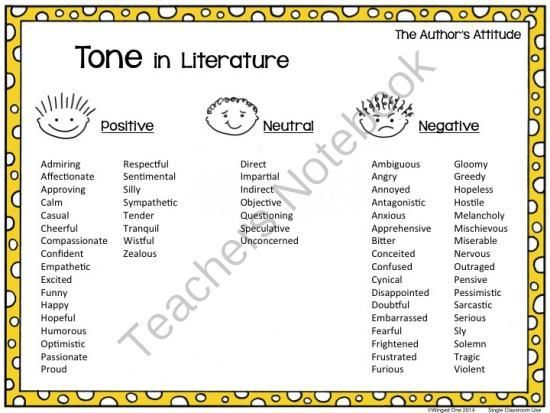 image result for list examples of tone in literature | pics | tone
