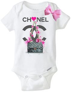 f6e5b654d Glitter Coco Chanel Classy & Fabulous onesie by KarinaKayBoutique |  Charlize baby showet | Chanel kids, Baby chanel, Chanel shirt