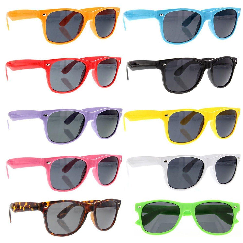 3b5f5a54ce ... Plastic Frame Sunglasses for Men. grinderPUNCH® Wayfarer Sunglasses 10  Bulk Pack Lot Neon Color Party Glasses Wholesale