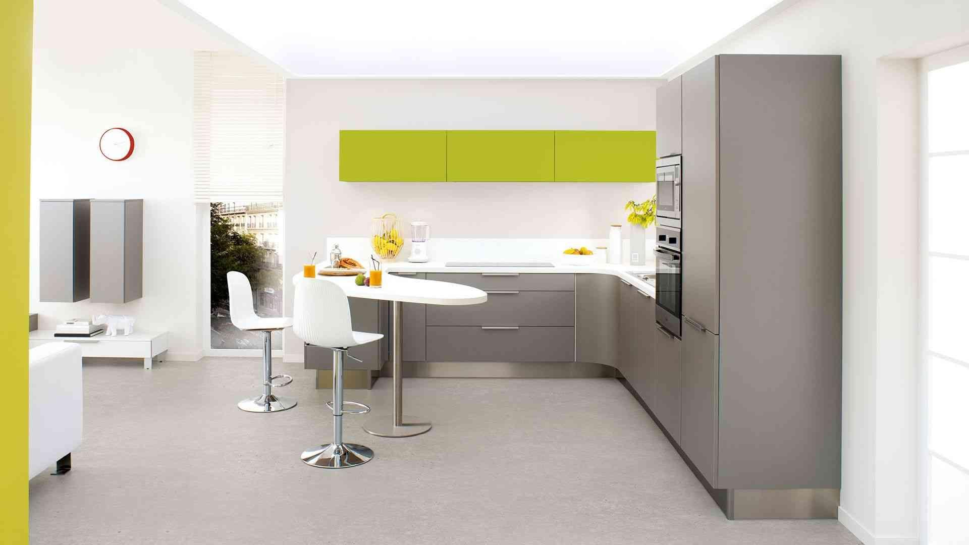 Laqué vert pomme  Cuisinella, Idee amenagement cuisine, Meuble