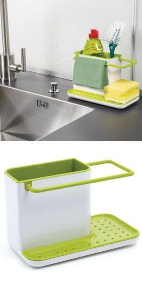 Kitchen Soap And Sponge Holder Space Saving Kitchen Kitchen Sink Caddy Cool Kitchens
