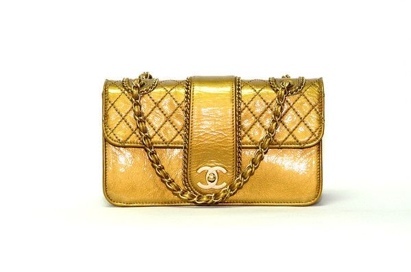 Authentic Vintage Chanel 25cm Bag in Gold Patent Leather with Bronze Hardware