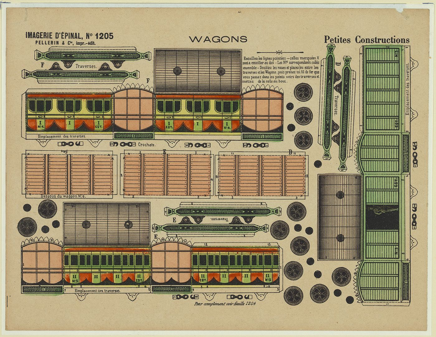Petites constructions. Wagons / Imagerie d'Épinal. Hand-colored lithograph, printed by Pellerin & Cie, between 1870 and 1900. http://hdl.loc.gov/loc.pnp/pga.04019