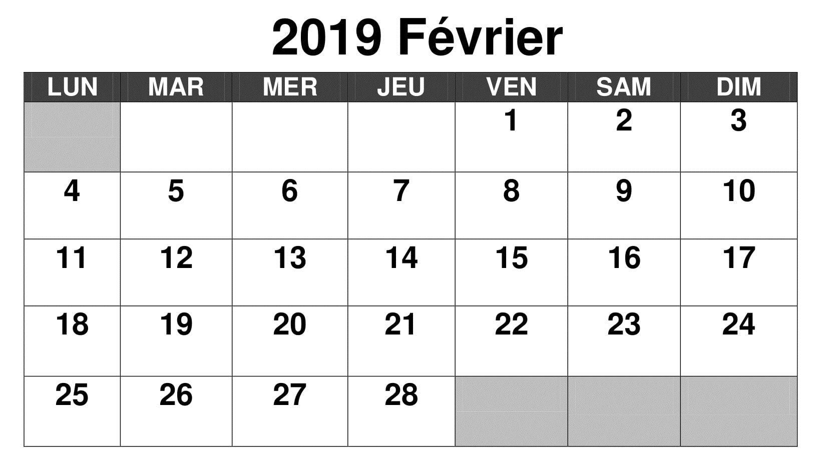 Calendrier Ea.Calendrier Fevrier 2019 A Imprimer Calendrier Fevrier 2019