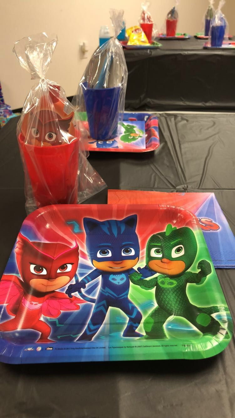 Pj Masks birthday party theme for my four year old. Cheap