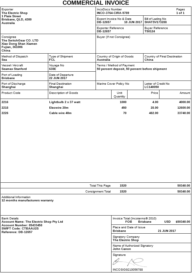 Export Commercial Invoice Document Used In International Trade