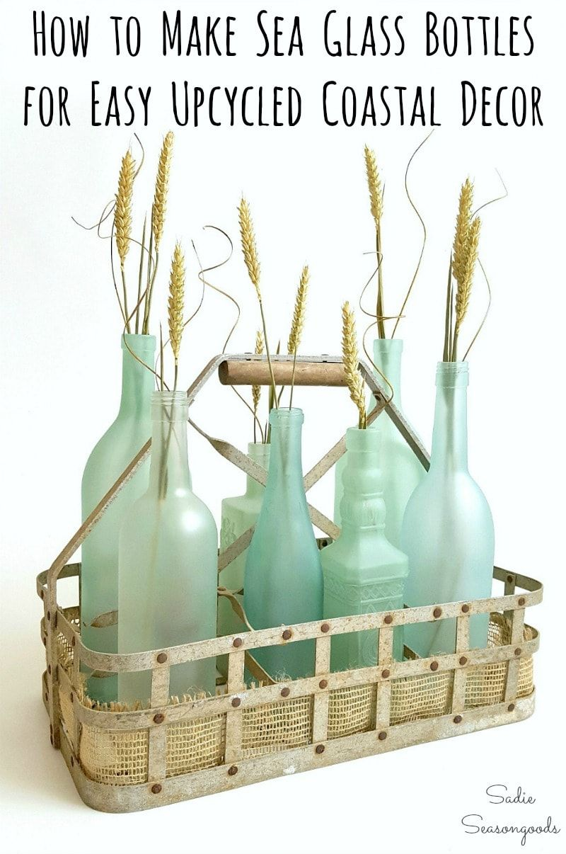 Photo of Wine Bottle Crafts: Beach Glass or Sea Glass Bottles for Coastal Decor