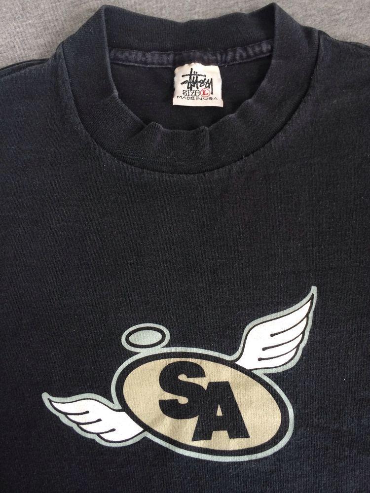 5379fb62 STUSSY Angels Shirt 80s 90s Vintage USA Made Black Street Skate Supreme  Large #Stussy #GraphicTee