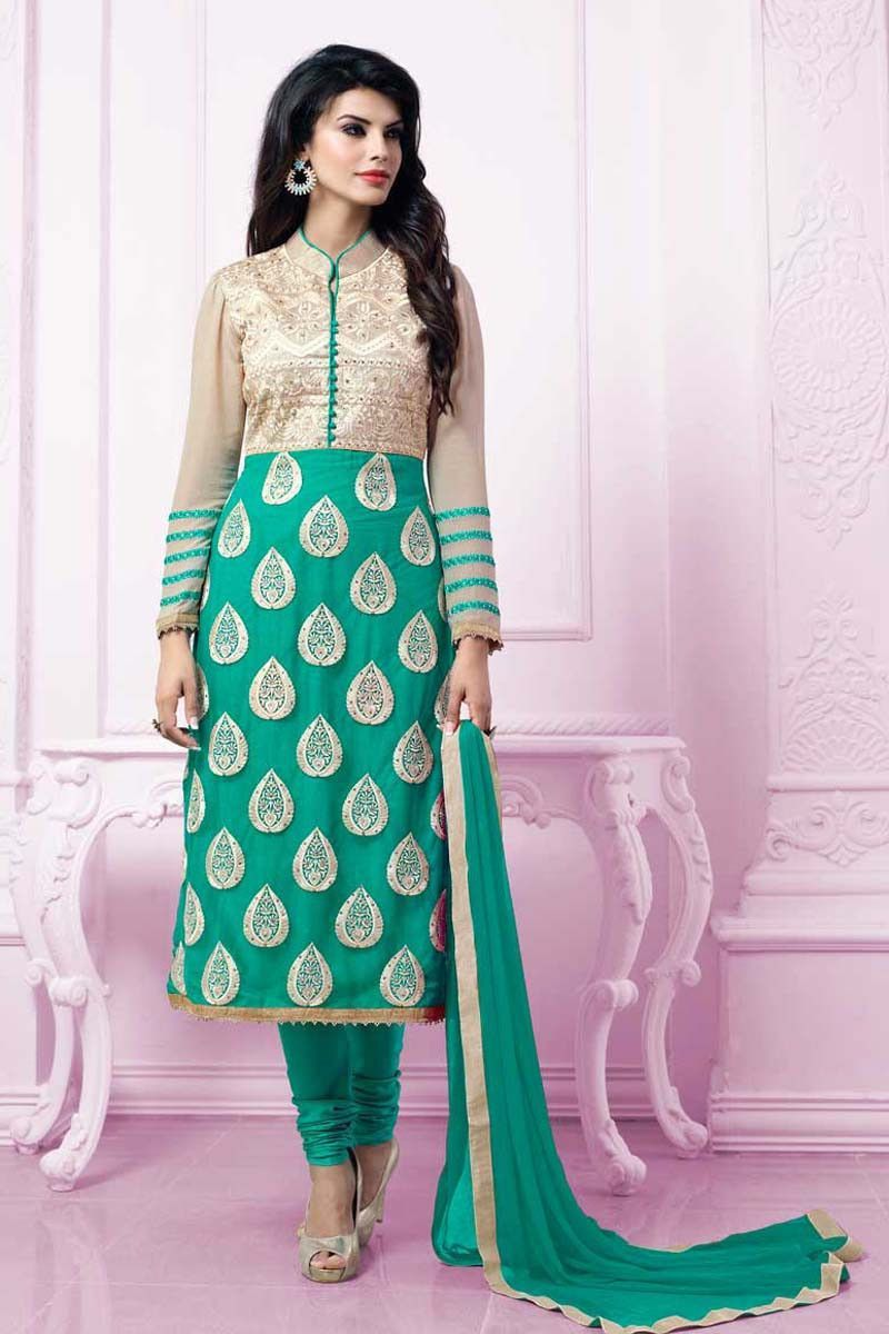 Green faux georgette designer salwar kameez products pinterest