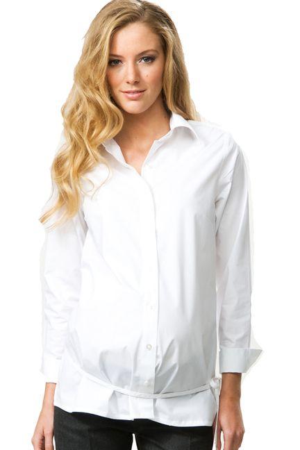 Crave Long Sleeve Tie Belt Career Maternity Shirt | Maternity ...