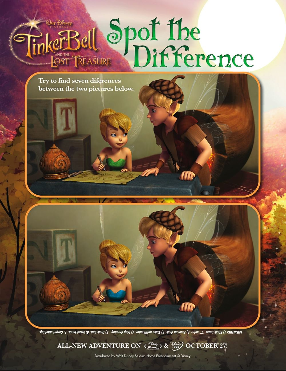 Tinkerbell Spot The Difference Game Printables For Kids Free Word Search Puzzles Coloring