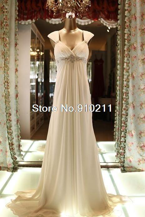 Sleek Cap Sleeves Beaded Waistline Chiffon Sweep Train Empire Modern Wedding Dresses-in Wedding Dresses from Apparel & Accessories on Aliexpress.com | Alibaba Group