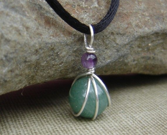 Photo of Green Aventurine and Amethyst Little Wirewrapped Pendant, Gift for Her Green Stone Necklace, Women Stone Jewelry