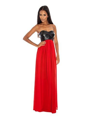 Black PU Bodice & Red Chiffon Maxi Dress | Goddess London